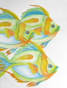 ORIGINAL FIsh Three Times watercolor seashore coastal Colorful OOaK ocean