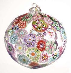 Millefiori glass ball ornament (Millefiori means a thousand flowers in Italian)