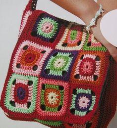 cartera a cuadros crochet