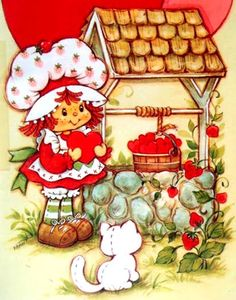 ❤ The Original Strawberry Shortcake and her cat, Custard was done in 1977 by Muriel Fahrion.