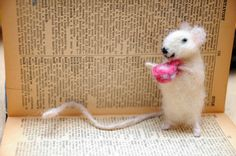 Sweet white mouse bookmark with a cup of tea.Mouse is handmade product…