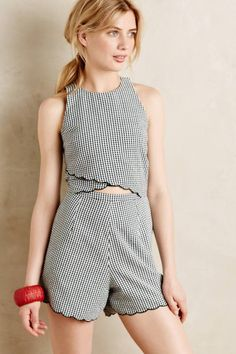 Scalloped Gingham Romper