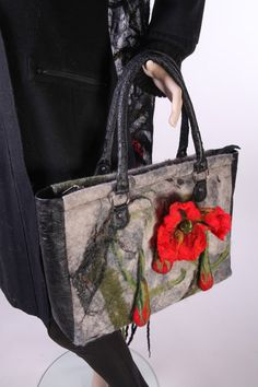 Red Poppy and Grey Felted Picture Bag+Nuno Felt Long Scarf OOAK,Ostrich Leather, Handbag, black, red, wool painting technique.