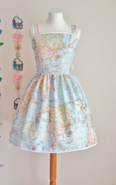 World Map Print Otome Casual Jsk Jumperskirt Dress Tulle Lace Trim Geography