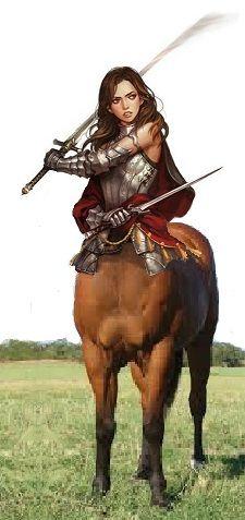 Centaur  warrior at sword practice by mplumb