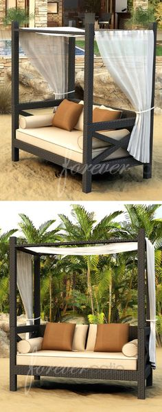 Wicker Canopy Sofa Lounger