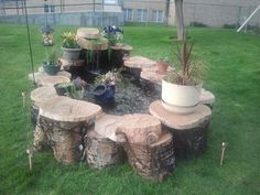 my inexpensive water feature made of sweat , water and neighbors tree, oh and cheap fish.