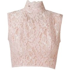 Martha Medeiros Crop Lace Blouse ($1,185) ❤ liked on Polyvore featuring tops, blouses, collar top, lace collar blouse, lacy blouses, pink top and lace blouse