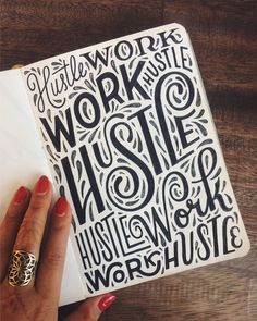 Lettering inspiration—Work hustle sketches by /homsweethom/ hustle work, work hustle, hustle—you get the idea, love this hand drawn type. Hand Drawn Type, Hand Drawn Lettering, Creative Lettering, Types Of Lettering, Hand Type, Lettering Design, Inspiration Typographie, Typography Inspiration, Graphic Design Inspiration