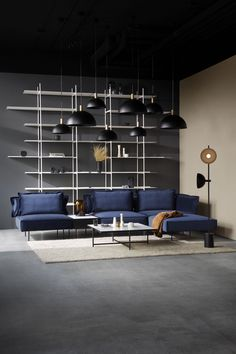 Black Studio Pendant and blue velvet modular sofa. White Coffee Table 90 with marble. Danish Furniture, Furniture Design, Home Interior, Interior Design, Studio Lamp, Grey Wall Decor, Home Modern, Modular Shelving, Shelf Design