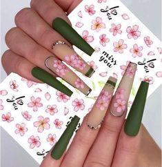 Long Square Acrylic Nails, Pink Acrylic Nails, Acrylic Nail Designs, Nail Decals, Nail Stickers, Flower Nails, Rose Nails, Square Nail Designs, Transparent Nails