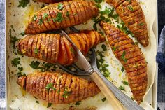 A simple recipe for delicious roasted hasselback sweet potatoes.
