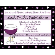 20 Personalized Bridal Shower Invitations   Wine and by partyplace, $18.00