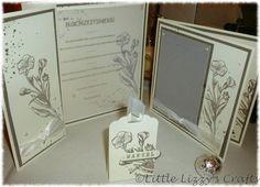 Menükarte, Einladungskarte mit Foto, Gastgeschenk mit Namen, Vanille, Taupe, Schmetterlingsgruß