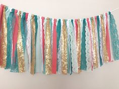 Coral Teal & Gold sequin garland banner photo prop by ohMYcharley