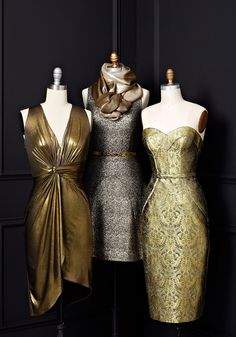 """""""Nothing beats the glamour of a metallic dress for the holidays."""" — O Creative Director Adam Glassman(Mix Chicks Swag) Holiday Dresses, Holiday Outfits, Metallic Gold Dress, Curvy Girl Fashion, Wedding Party Dresses, Fashion Beauty, Women's Fashion, Autumn Winter Fashion, Beautiful Outfits"""