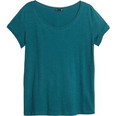 H&M Top in slub jersey ($4.18) ❤ liked on Polyvore featuring tops, t-shirts, shirts, tees, petrol, h&m t shirts, t shirts, blue tee, h&m tops and slub jersey