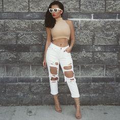 #TGIF #OOTD  Top @americanapparelusa Jeans @whitefoxboutique Shoes @nastygal Shades @whitefoxboutique #glamrezy