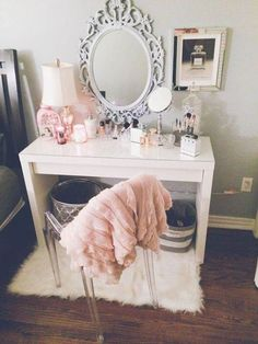 room, home, and luxury pink mirror vanity makeup make up table set girls womens girly soft delicate feminine organized organize organization goals pretty beautiful fur neutral