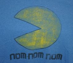 "Pac-Man ""Nom Nom Nom"" T-Shirt Adult Size Medium Blue #PacMan"