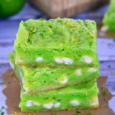 These Key Lime Gooey Bars are the best gooey bars EVER! Fresh lime juice and zest are the secret ingredients!