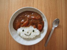 Curry & Rice with Seaweed Face. #Cute