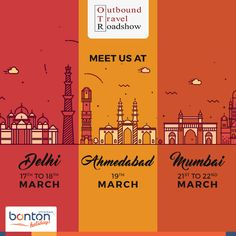 Connect with us at the Outbound Travel Roadshow, India's largest travel trade event with stops in Delhi, Ahmedabad & Mumbai! Today in Delhi!! At The Shangri-La. 19 Ashoka Road, Connaught Place, New Delhi 110 001 Phone:+91 11 4119 1919 Tomorrow Workshop At The Claridges New Delhi. 12 Dr APJ Abdul Kalam Road, New Delhi - 110011 Phone:+91 11 3955 5000