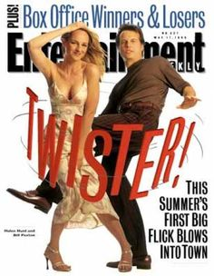 """Let's do the twist with Helen Hunt and Bill Paxton, playing formerly marrieds brought together by impending disaster (bad weather - very bad) in """"Twister""""! Helen Hunt Movies, Twister 1996, Philip Seymour Hoffman, Winners And Losers, Very Bad, Entertainment Weekly, Jaba, Celebrity Crush, Bring It On"""