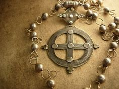 Reserved RL Antique Sterling  Medieval Ethiopian Cross necklace Hallmarked Queen of Sheba Gothic trefoil clover cross. $292.50, via Etsy.