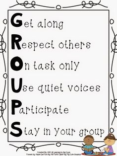 Groups Anchor Chart to help students understand expectations when working with groups.{Free} Groups Anchor Chart to help students understand expectations when working with groups. First Grade Classroom, Classroom Behavior, Classroom Posters, School Classroom, Year 3 Classroom Ideas, Classroom Procedures, Teaching First Grade, Science Classroom, Classroom Organization