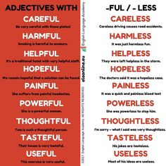 Adjectives with -Ful / -Less