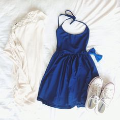 Royal Blue Spaghetti Strap Belt Loose Dress