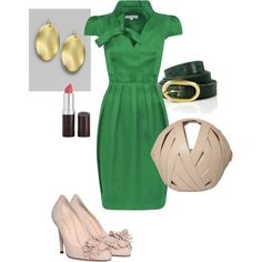 A fashion look from August 2011 featuring green color dress, beige high heel pumps and genuine leather shoulder bag. Browse and shop related looks. Beige High Heels, High Heel Pumps, Pumps Heels, All Things Fabulous, Work Inspiration, Kelly Green, Window Shopping, Wedding Wear, Dress Me Up