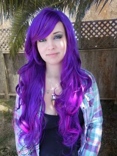 20% OFF SALE Illicit Dreams / Purple and Neon Violet / Long Curly Layered Wig Mermaid Hair Lolita Natural Scalp Piece