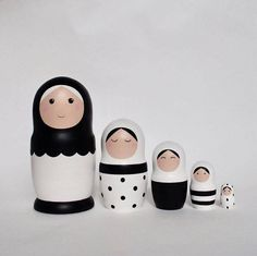 This black and white set of matryoshka dolls can become an unexpected present to your friend, a beautiful decoraton in your living room, your small jewerly box or a favourite toy of your child! It consists of 5 dolls The biggest girl is 20cm / 7.87″ The smaller girl is 3cm / 1.18 Made of wood