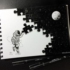 Puzzle My little astronaut is so busy.- Puzzle 👀 Mein kleiner Astronaut ist so beschäftigt. – Puzzle 👀 My little astronaut is so busy. Space Drawings, Cool Art Drawings, Pencil Art Drawings, Art Drawings Sketches, Lyric Drawings, Random Drawings, Tumblr Drawings, Beautiful Drawings, Easy Drawings