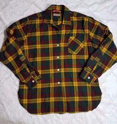 Vintage Women Viyella British Plaid Yellow Red Wool Hunting Shirt Sz 18 M #Viyella #ButtonDownShirt #Casual