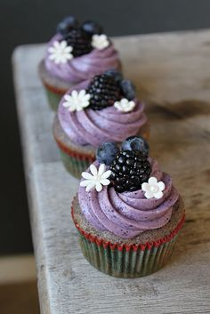 """Daddy's Cupcake"" served with a Starry Night Cocktail aka Blueberry-Blackberry Cupcake with Blueberry Cream Cheese Frosting served with a Blueberry Champagne cocktail. : )"