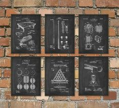 Billiards Patent Prints Set Of 6 - Billiard Inventions - Billiards Wall Art Poster - Billiards Room Patent - Pool Room Patent Poster This billiard poster set is printed using high quality archival inks on archival paper with a smooth matte finish. A fantastic gift or a fabulous addition to your home! Please choose between different colors and sizes. --------------------------------------------------------------------------------------------- FLAT RATE SHIPPING: Any additional prints in th...