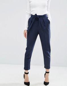 Image 4 ofASOS PETITE Woven Peg Trousers with Obi Tie