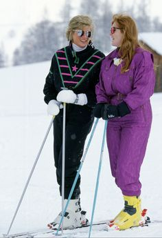 Diana and Fergie on the slopes in 1988.