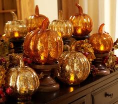Product image of Set of 3 Mercury Glass Pumpkins with Timer by Valerie Harvest Decorations, Thanksgiving Decorations, Thanksgiving Ideas, Glass Pumpkins, Fall Pumpkins, Pumpkin Display, Valerie Parr Hill, Autumn Decorating, Decorating Ideas