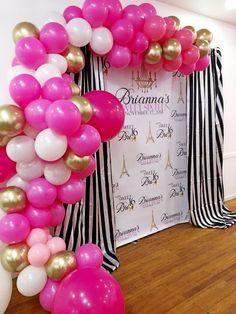 Shades of Pink Balloon Garland Guirlande ballon rose - - Paris Themed Cakes, Paris Themed Birthday Party, 10th Birthday Parties, Sweet 16 Birthday, Paris Birthday Themes, Paris Themed Parties, Spa Birthday, Paris Party Decorations, Sweet 16 Decorations