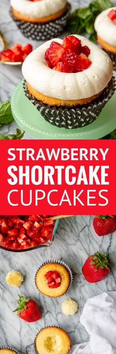 Guests at your next gathering will flock to these sweet strawberry shortcake cupcakes: light and fluffy, buttery vanilla cupcakes topped with sweet California strawberries and the best buttercream frosting recipe you'll ever taste! Köstliche Desserts, Delicious Desserts, Dessert Recipes, Yummy Food, Buttercream Recipe, Frosting Recipes, Yummy Cupcakes, Vanilla Cupcakes, Shortcake Cupcake Recipe