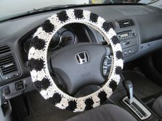 Crochet Steering Wheel Cozy--black/natural