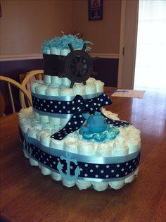 12 Boat Themed Diaper Cakes Photo - Boat Diaper Cake, Nautical Baby Shower Diaper Cake Boat and Nautical Diaper Boat Cake Regalo Baby Shower, Baby Shower Crafts, Fiesta Baby Shower, Baby Shower Diapers, Baby Shower Fun, Baby Showers, Boat Diaper Cake, Boat Cake, Dipper Cakes