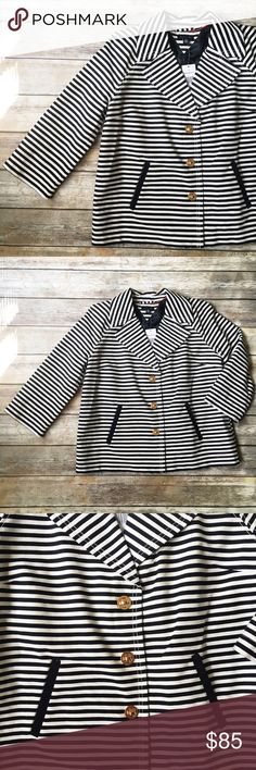 """Tommy Hilfiger Adorable Striped Turnlock Blazer  ★ NWT, perfect condition! ★ This adorable navy and white striped turn lock blazer from Tommy Hilfiger is a must have and perfect for fall and winter! ★ Cotton, Rayon, Nylon.  ★ NO TRADES OR MODELING! ★ YES REASONABLE OFFERS!  ★ Measurements: 25.5"""" long, 23"""" bust laying flat.  ★ Suggested User! Shop with confidence. :) Tommy Hilfiger Jackets & Coats Blazers"""