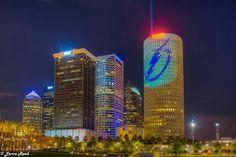 Go Tampa Bay Lightning Tampa Bay Lightning, Lightning Strikes, Tampa Florida, Willis Tower, New York Skyline, Building, Fun, Hockey, City Skylines