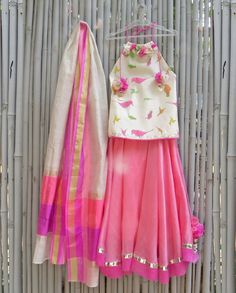 Bird Printed Ivory and Carnation Pink Lengha Set