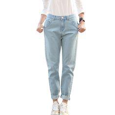 Denim Women's Jeans Plus Size 33 Loose Casual Full Length Boyfriend Women Jeans Pants American Apparel Pantalones Tejanos Mujer Price: USD 28.44 | United States